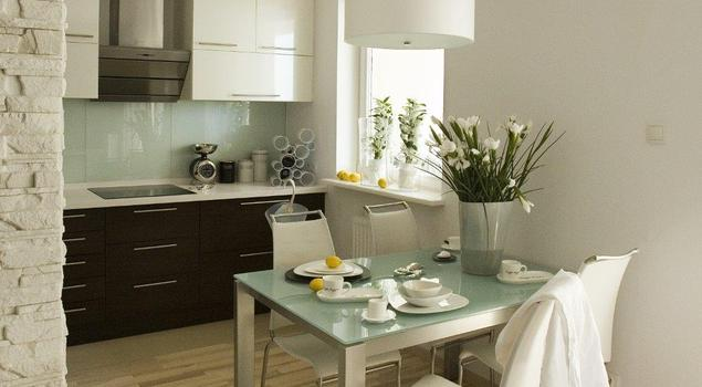 Aranżacje kuchni z salonem Skandynawski wystrój wnętrz -> Mala Kuchnia W Bloku Z Salonem